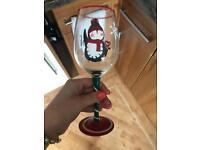 Christmas wine glass penguin