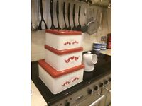Three lovely red and white cake tins that fit inside each other only £4.00 Swindon SN1