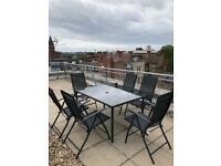 Black metal 6 seater rectangular garden furniture set