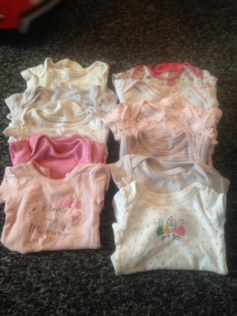 Girls newborn short sleeved vest bundle