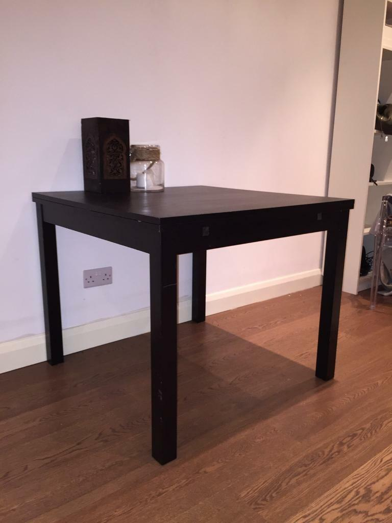 Brown Black Extendable Ikea Bjursta Dining Table In