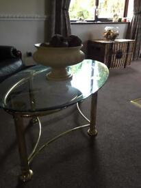 Glass and bass fenwick coffee table