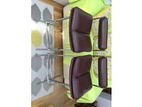2 bright metal tubular retro bar stools with leather effect seating