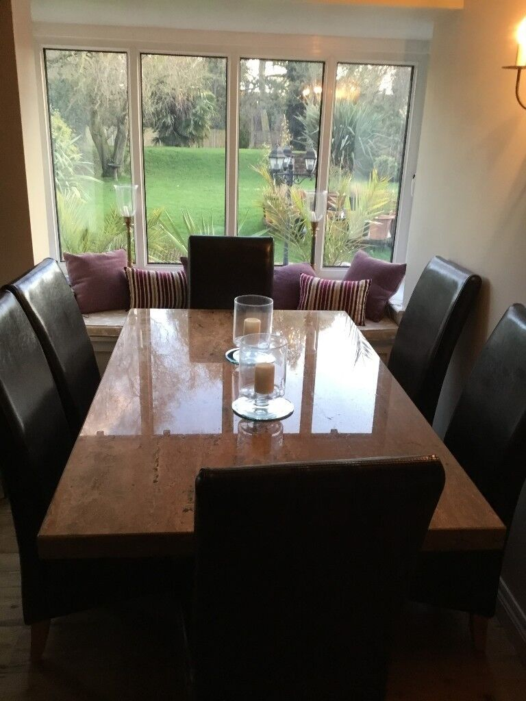 Marble Dining Table Six Chairs Ex Lees Grimsby Great Condition Buyer To