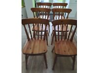 6 solid pine kitchen / dining chairs
