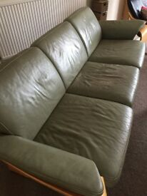 3 Seater Leather Sofa Free - if you can pick it up! 230cm long, 90 wide, 80 high. No Fire label!