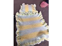 Beautiful hand crocheted dolls pram set