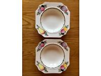 PAIR Of Rare Vintage Art Deco Fieldings Devon Ware Autumn Bowls. COLLECT LEEDS