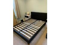 Black Leather Double Bed Frame - Used (Good Condition)