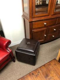Brown leather Chesterfield style stool * free furniture delivery *