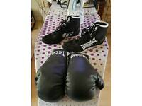 Junior boxing boots and gloves