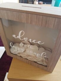 Advice for the happy couple box with over 100 blank wooden hearts included