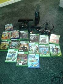 Xbox 360 with kinect and 16 games and 2 control pads
