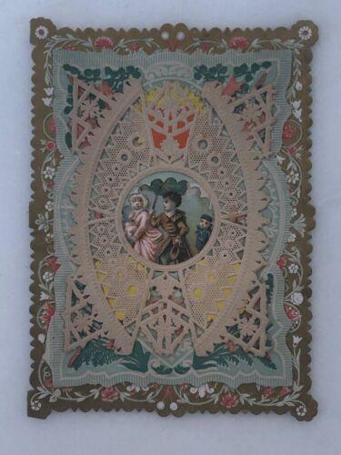 c 1900 VICTORIAN Layered VALENTINE Unused Die Cut Embossed ANTIQUE