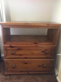 Pine TV unit with drawers