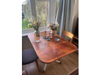 mid century drop leaf dining table (Solid wood frame)