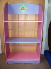 CHILDRENS PINK AND LILAC BOOK CASE