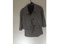 Hobbs Wool suit Check design 3/4 Jacket (12) and short skirt(10)