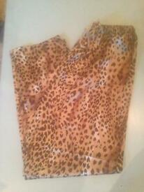 M&S Ladies leopard print silk casual bottoms size 14