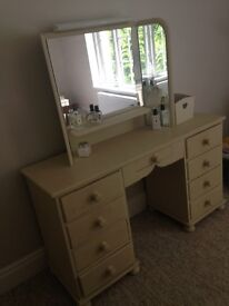 Large pine dressing table with mirror.