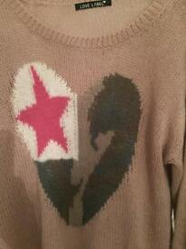 Ladies Jumper, Beige with heart motif, Love Label size 16