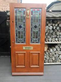 Cottage style stained glass exterior door