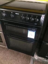 Black beko 60cm ceramic hub electric cooker grill & double fan assisted ovens with guarantee