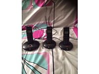 BT trio cordless phones set of 3 with answering machine