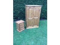 Wooden wardrobe and bedside cabinet