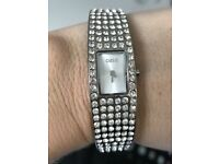 Oasis Silver Coloured All Over Diamonte Watch