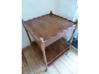 Shabby Chic Vintage 2-Tier Trolley Table Drawer & Wheels Ideal Painted Furniture Project
