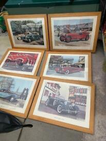 6 Large framed antique old car pictures £25