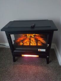 HALOGEN ELECTRIC STOVE HEATER \ FIRE WITH REMOTE CONTROL, BLACK