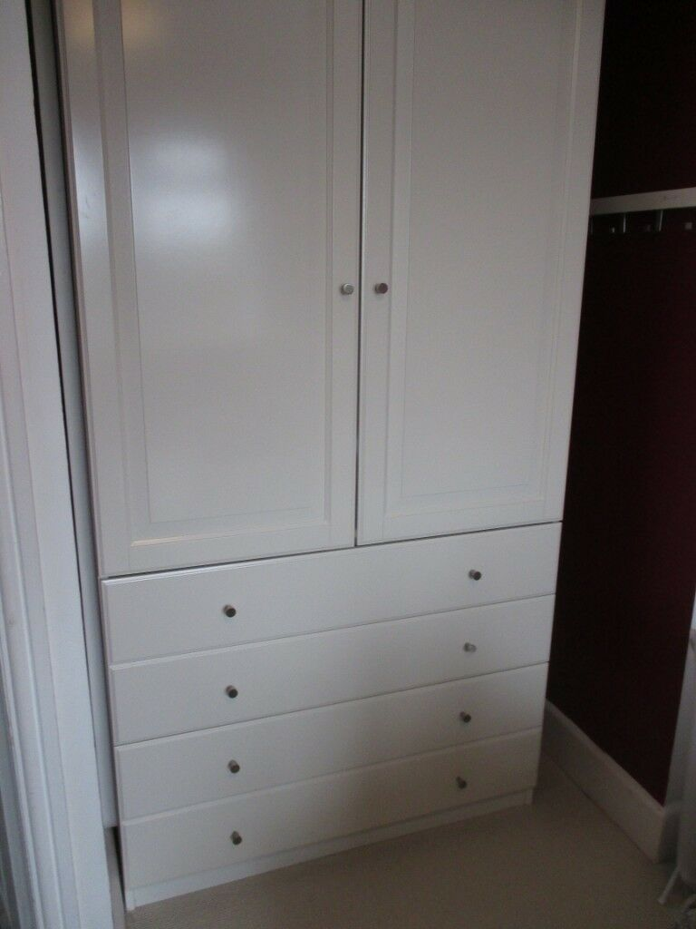 Rare Ikea Pax Birkeland Wardrobe With 4 Deep Drawers And 2 Doors