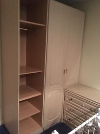 Pale pear MFI bedroom furniture: double wardrobe, single storage, double and single chests