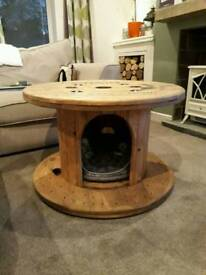 WonkyDonk pet bed / coffee table upcycled cable reel