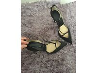 Black Zara diamonte strapped stiletoes, size 5 never worn