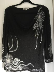 Jacques Vert Ladies black beaded evening top reduced in price