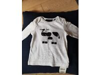 Mothercare NEW WITH TAG 6-9 months t-shirt with embroidered fun cow