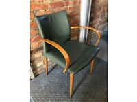 Mid-century green leather chair