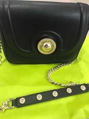Versace ladies bag black with gold chain strap 23cm wide 18cm long 5cm deep