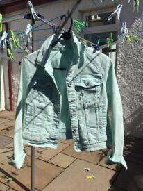 Mint coloured denim jacket size 12