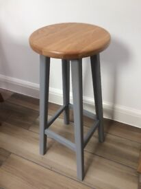 Upcycled solid wood bar stool
