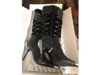 Boots size 7 leather and bling