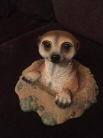 meerkat coming out a hole ornament 22x25cm base 18cm tall