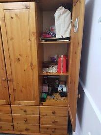 Solid pine 3 door wardrobe