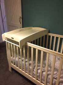 Mamas & papas cream/white sleigh cot bed.