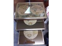 Antique map nest of tables