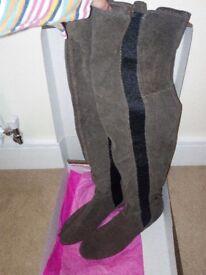 Ladies Jones grey suede (size 8) knee high boots