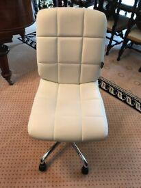 Desk Chair - Staples Weston Cream Faux Leather Designer Task Chair